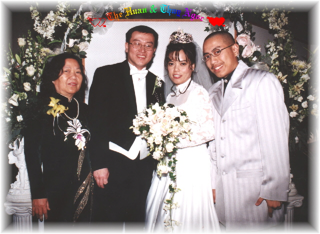 {Bride's Mom is on the left and Bride's Nephew David Tai is on the right}
